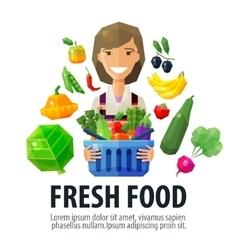 Fresh food logo design template fruiterer vector