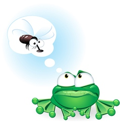 frog with fly cartoon vector image