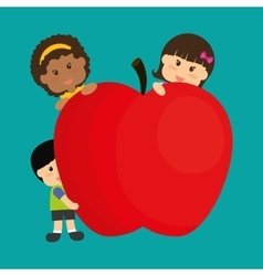 Girl boy apple fruit and kids menu concept vector