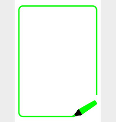 Green highlighter page border vector