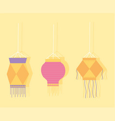 happy diwali festival decorative hanging lamps vector image