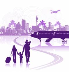 Happy family in airport cityscape vector