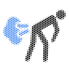 Hexagon halftone fart gases icon vector