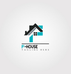 House icon template with f letter home creative vector