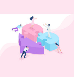 Isometric acquaintance love meeting heart 3d vector