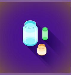 Isometric glass jars set vector