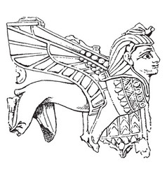 Ivory carving sphinx in high relief or ninveh vector