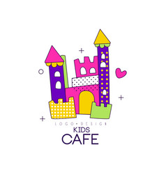 Kids cafe logo design badge with colorful castle vector
