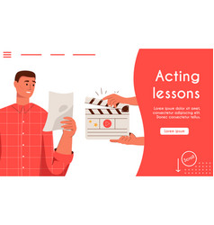 landing page acting lessons concept vector image