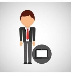 Laptop business man suit worker icon vector