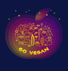 line style vegetable inscription go vegan vector image
