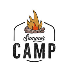 logo campfire with orange flame isolated vector image