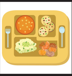 Lunch tray colorful poster salver with school vector