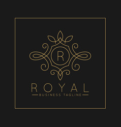 Luxurious letter r logo with classic line art vector