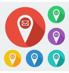 Map pointer icon with long shadow - geo tag web vector