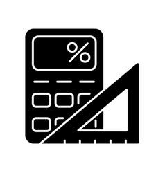 Mathematics black glyph icon vector
