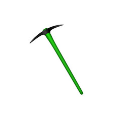 Mattock in black design with green handle vector