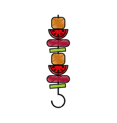 Meat stick isolated icon vector