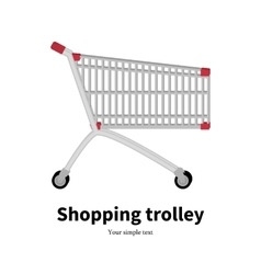 metal empty shopping trolley vector image