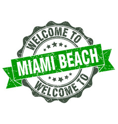 Miami beach round ribbon seal vector