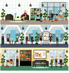 office life concept flat poster set vector image