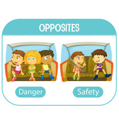 Opposite words with danger and safety vector