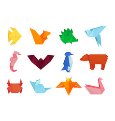 origami animals design and paper creative toys vector image