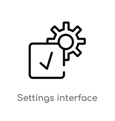 Outline settings interface icon isolated black vector