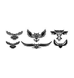 owl logo - emblem design on w vector image