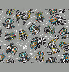 Owl penguian llama and raccoon sugar skull vector