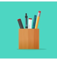 Pen and pencil stationery wooden holder design vector