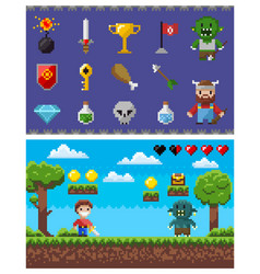 pixel game elements and icons landscape with hero vector image