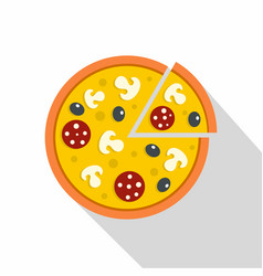 pizza with mushrooms salami and olives icon vector image