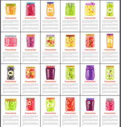 preserved food collection isolated color poster vector image