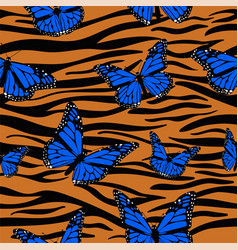 Print tiger skins combined with monarch vector
