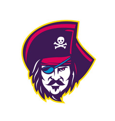 privateer pirate head mascot vector image