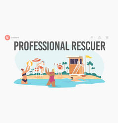 Professional rescuer landing page template vector