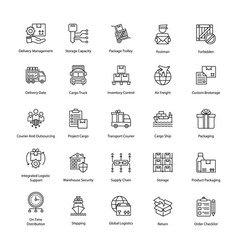 Prolific logistics delivery icons vector