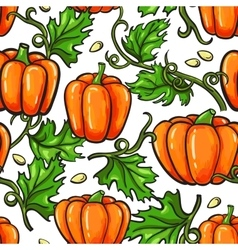 Pumpkin seamless pattern drawing Isolated vector image