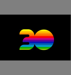 rainbow color colored colorful number 30 logo vector image