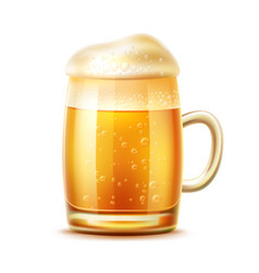 realistic beer glass mug lager ale vector image