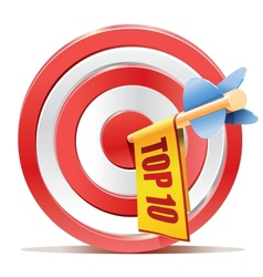 Red darts target aim and banner TOP 10 vector image