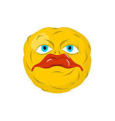 sad emoticon crazy emoji sorrowful emotion yellow vector image