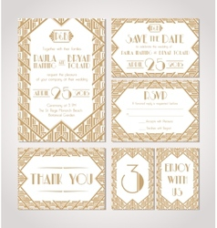 Gatsby invitations vector images over 1000 save the date set of wedding invitation cards vector stopboris Image collections