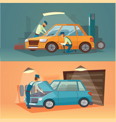 Scenes of car repair workers vector