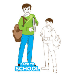 school boy with bag green color dress vector image vector image