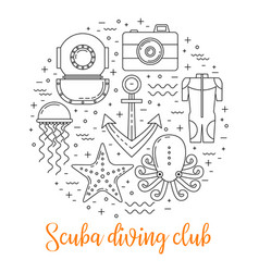 scuba diving line art background vector image