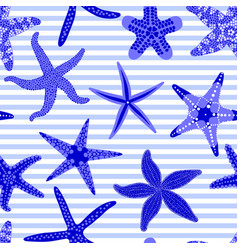 Sea stars seamless pattern marine striped vector