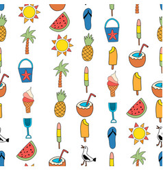 seamless background summer icons repeating vector image