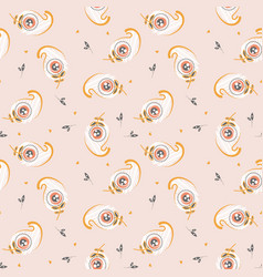 Seamless pattern with small feathers on pink cute vector